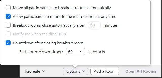 Zoom breakout room options popup window