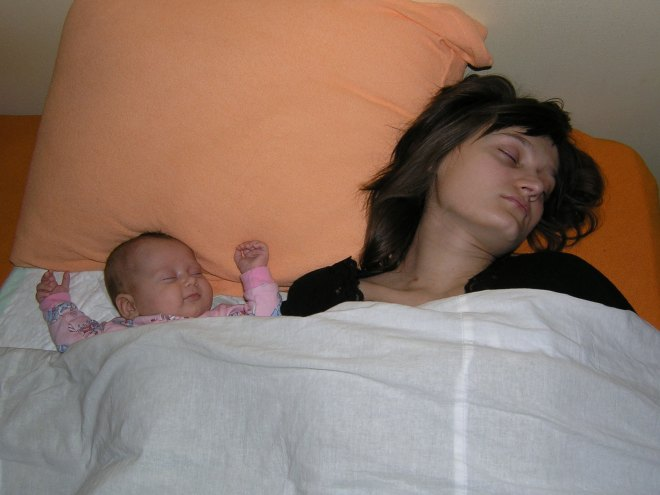 Kristina sleeps with mom