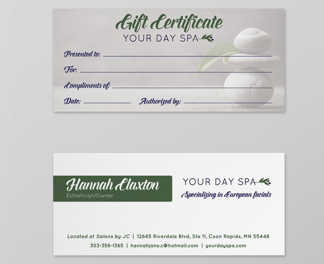 Your Day Spa gift certificate
