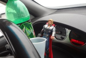 Kristy K. James-Thor partaking of my daughter's favorite beverage