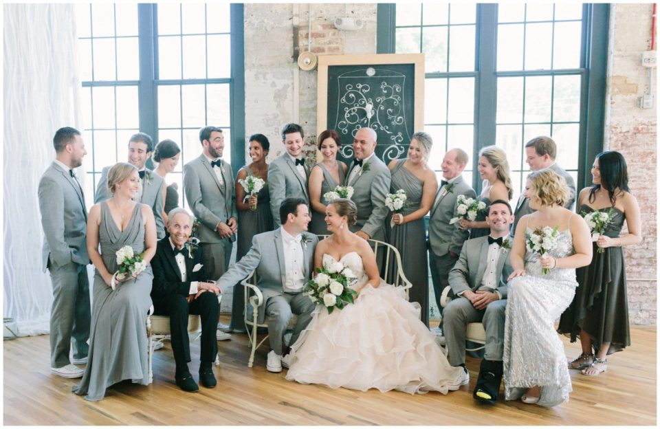 Indoor bridal party picture