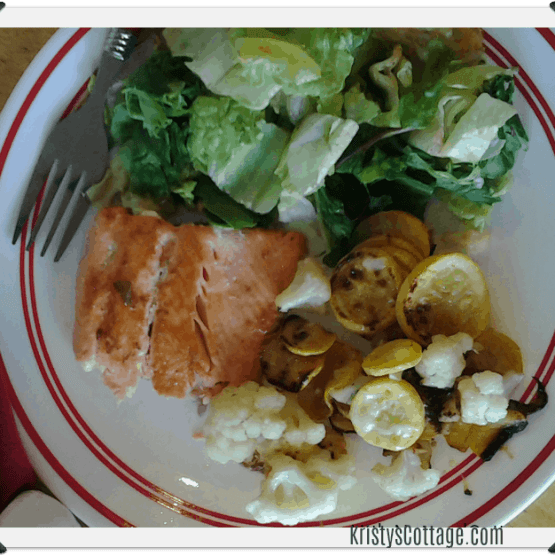 Toasted Sesame Salmon & Parmesan Cauli and Squash | Krisyt's Cottage blog