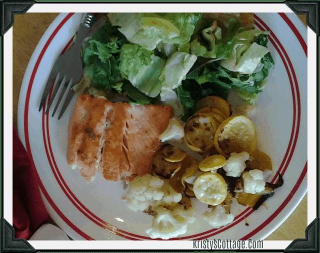 Toasted Sesame Salmon & Parmesan Cauli and Squash   Krisyt's Cottage blog