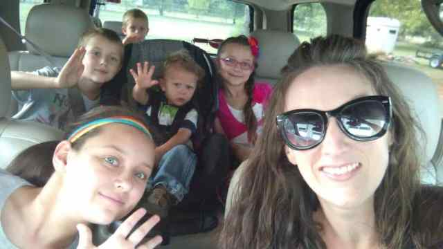 On our way to a homeschool meeting last summer!