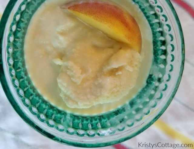 Homemade Peach Ice Cream with dairy-free variations | Kristy's Cottage blog
