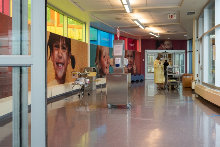 Health screening check at the entrance of the Alberta Children's Hospital.
