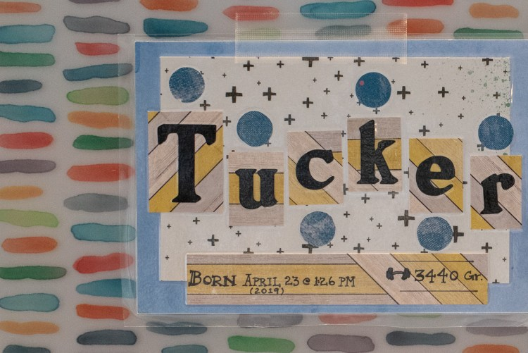 A child's nameplate from his hospital room.