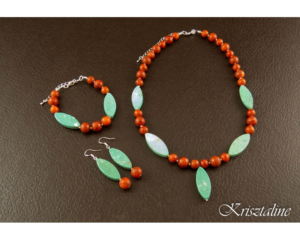 Red Coral and Turquoise Necklace  Krisztaline
