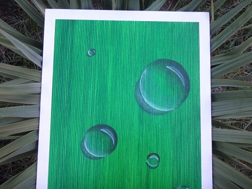 Peinture imitation goutte d'eau. Vert.