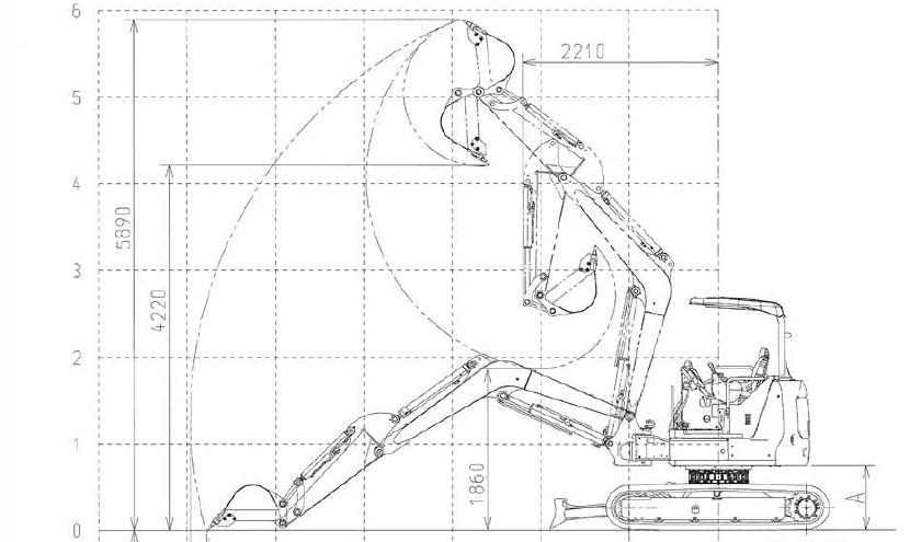分解式ミニ油圧ショベル・小型掘削機械の仕様・寸法図・作業範囲図