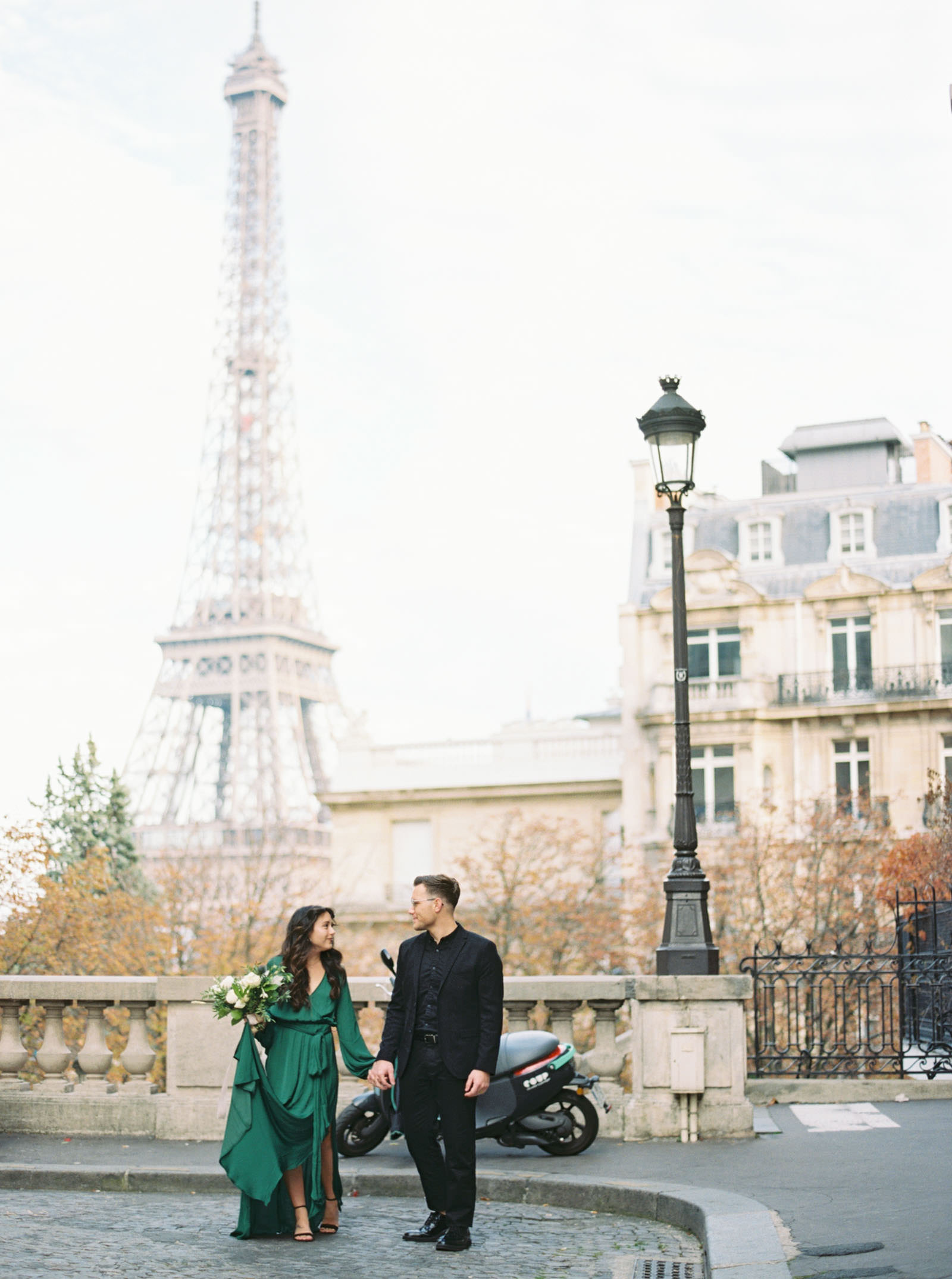 Engagement photos near Eiffel Tower - film photography - KR Moreno Photo