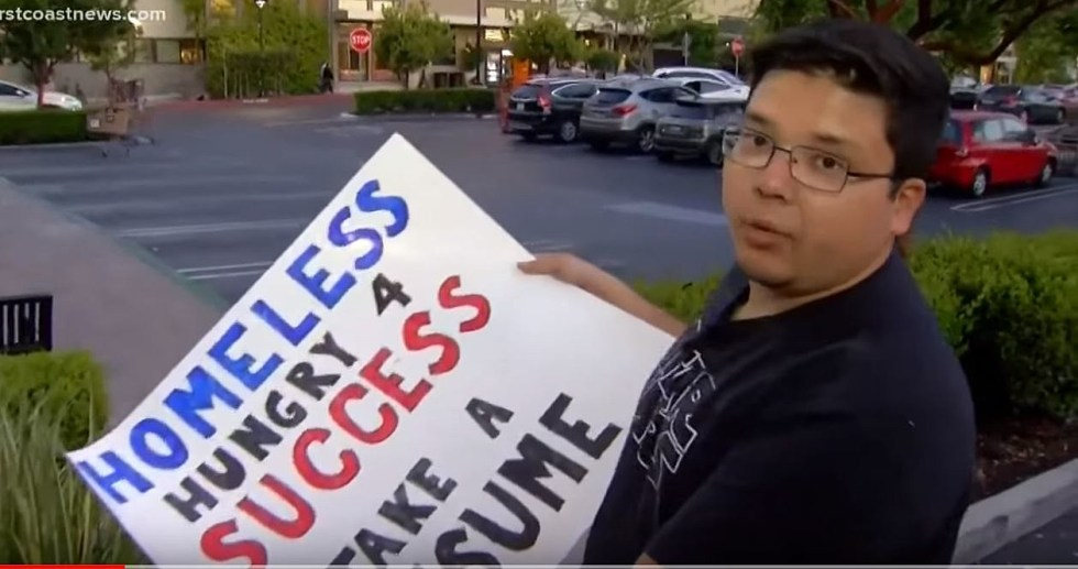 Homeless Man Making Waves For Offering Resumes
