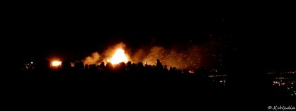 The huge bonfire.