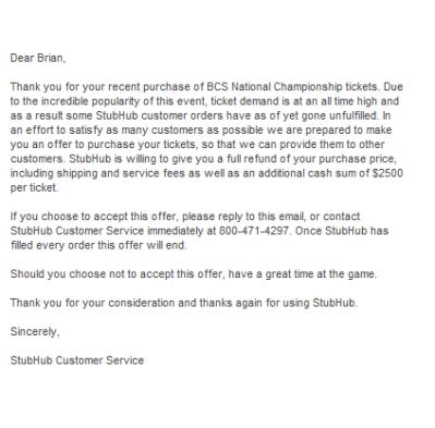stubhub letter offering $2500 per ticket