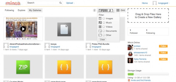 Minus.com for file sharing