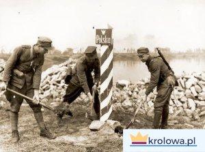 Wkopanie słupa granicznego nad Odrą