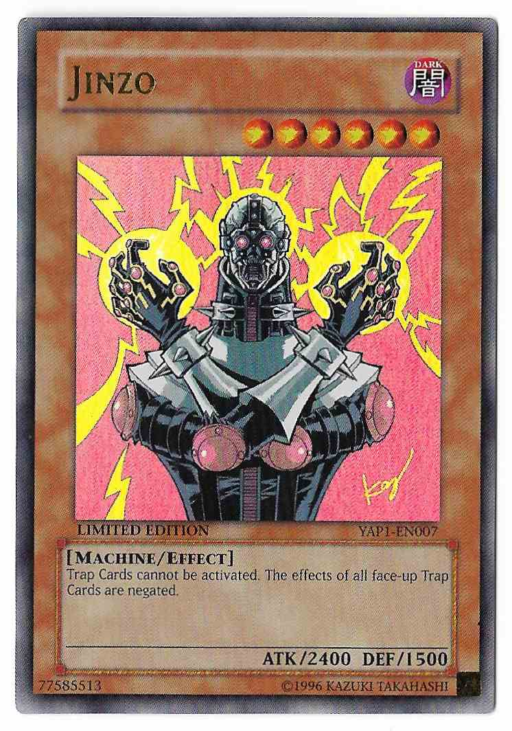 1996 Yugioh Card Jinzo Yap1-En007 Ultra Rare on Kronozio