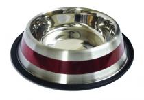 Миска металева полоска червона 0,9 л 18 см ММ79