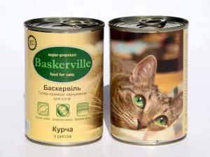 Консерва Баскервіль д/котів зі смаком курча та рису 400г