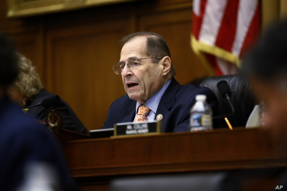 House Judiciary Committee Chairman Jerrold Nadler, D-N.Y., speaks during a hearing without former White House Counsel Don McGahn, who was a key figure in special counsel Robert Mueller's investigation, on Capitol Hill in Washington, May 21, 2019.