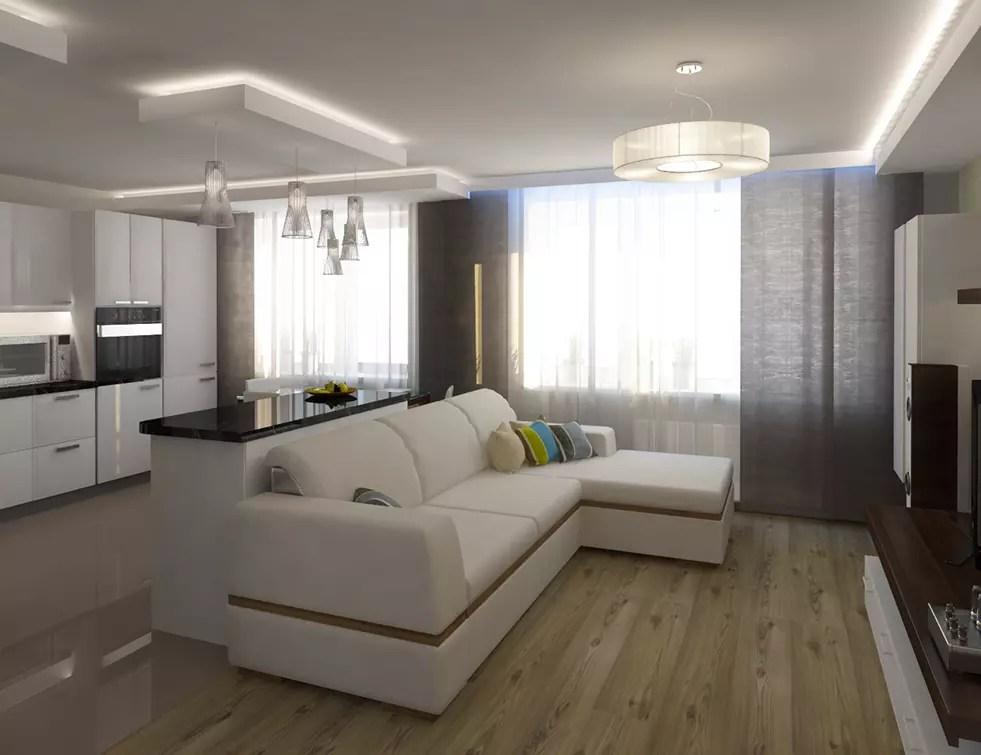 дизайн гостиной совмещенной с кухней 2