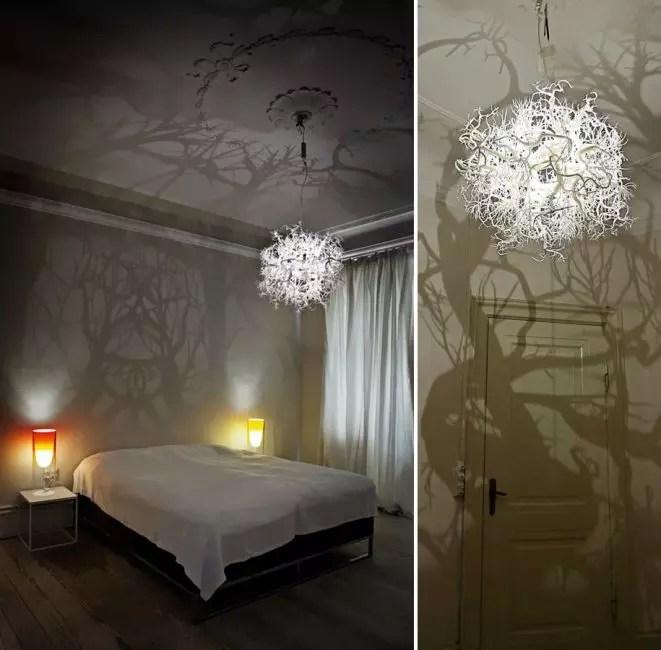حتی چنین جسم ساده مانند یک لامپ نور قادر به ایجاد یک فضای خاص در اتاق است.
