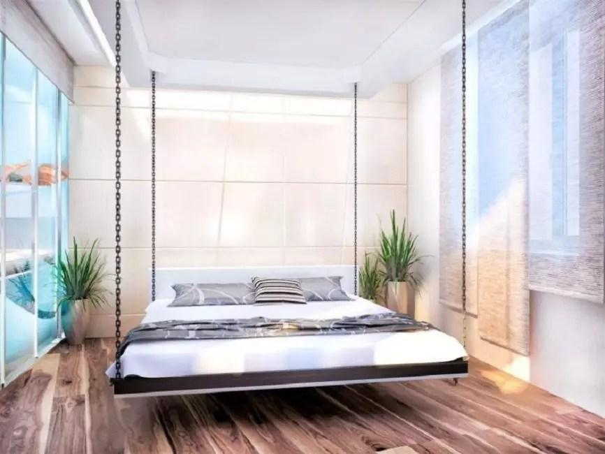 Αναστολή κρεβάτι - μια ασυνήθιστη λύση σχεδιασμού στο εσωτερικό της κρεβατοκάμαρας