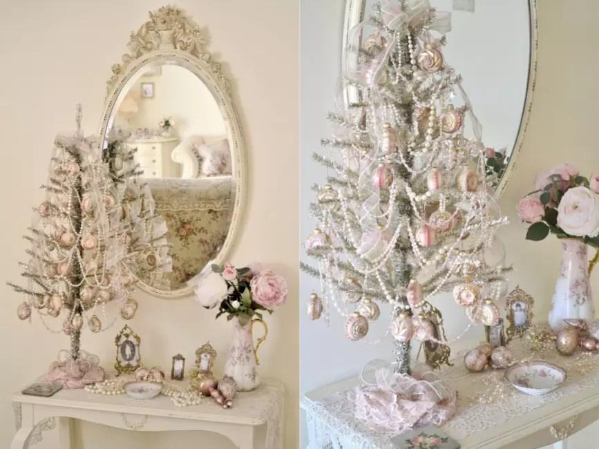 Juletre-Marshmallow: Alt i rosa med hvite perler og chiffonbånd