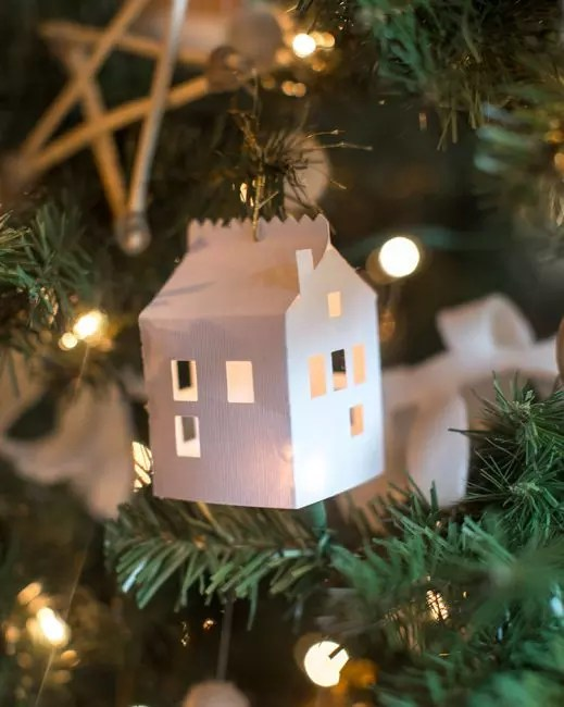 Tiny paper houses with windows do not need an additional decor. In the light of the Christmas Garlands, they are transformed into fabulous!