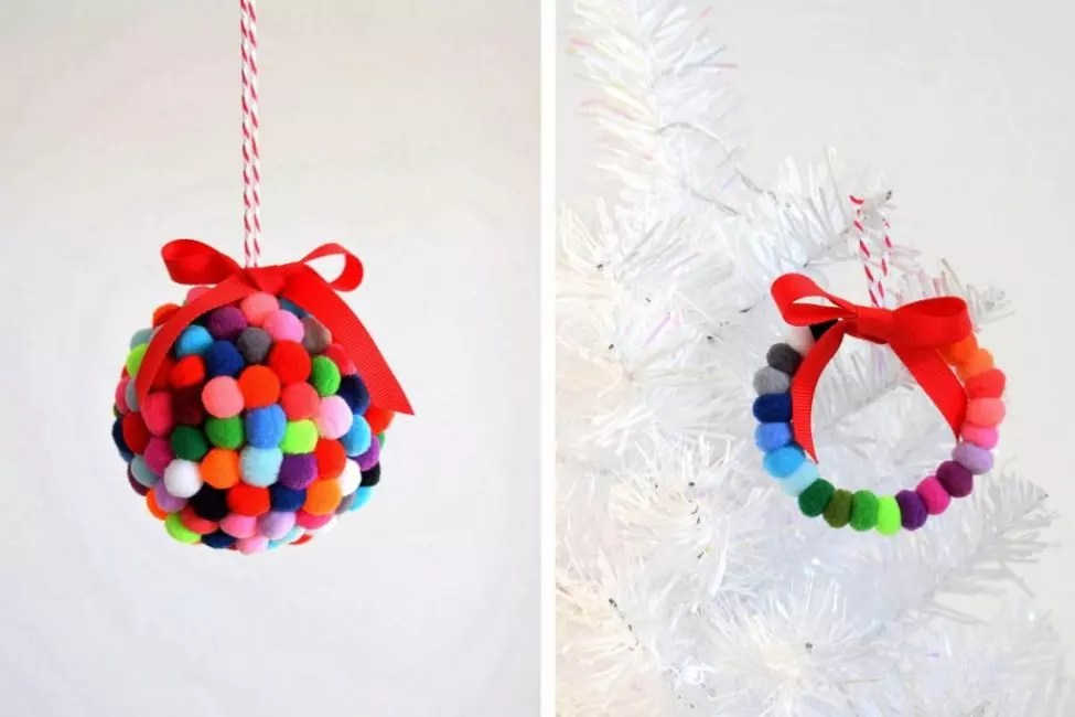 Christmas wreath from Pomponov - another version of the Christmas decor. Pumps are fixed on dense wire and suspended with satin ribbon. Color gamut can be chosen any suitable in style for interior