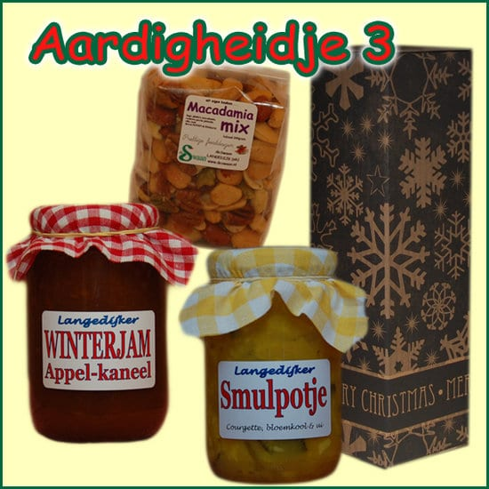 Kerstpakket Aardigheidje 3 - Streekpakket gevuld met lokale streekproducten - Relatiegeschenk Specialist - www.kerstpakkettencadeaubon.nl