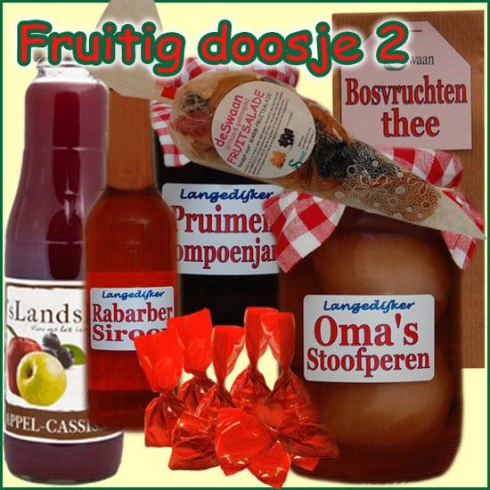 Kerstpakket Fruitig doosje 2 - Streekpakket gevuld met lokale streekproducten - Relatiegeschenk Specialist - www.kerstpakkettencadeaubon.nl