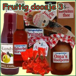 Kerstpakket Fruitig doosje 3 - Streekpakket gevuld met lokale streekproducten - Relatiegeschenk Specialist - www.kerstpakkettencadeaubon.nl