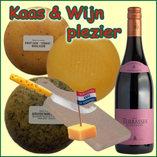 Kerstpakket Kaas en Wijn - Streekpakket gevuld met lokaal wijn en kaas streekproducten - Streekkado Specialist - www.kerstpakkettencadeaubon.nl