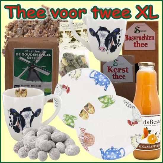 Kerstpakket Thee voor Twee XL - thee Cadeaupakket gevuld met originele StreekSpecialiteiten - Thee Cadeaupakket - www.krstpkkt.nl