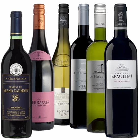 Wijnpakket Rondje Frankrijk 6 - Wijngeschenk Specialist - Wijngeschenk gevuld met luxe wijnen uit Frankrijk - Kerstpakket wijn - www.krstpkkt.nl