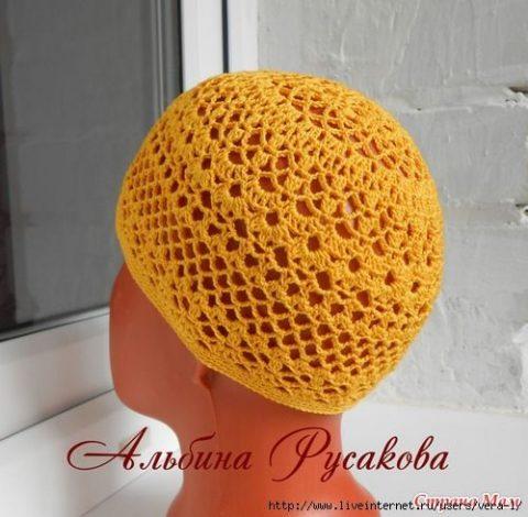 Ажурная шапочка для девочки по мотивам берета