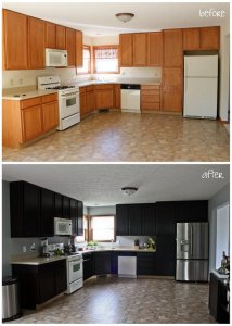 Staining Kitchen Cabinets Before And After 214x300 - Pros & Cons of Staining Kitchen Cabinets
