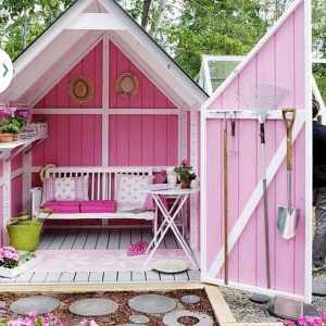 gardening shed shady seating area bright pink She Shed 300x300 - She Shed