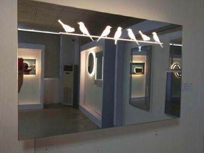 LED Vanity Mirror, Polished Edge, Decorative Birds Pattern, Bluetooth