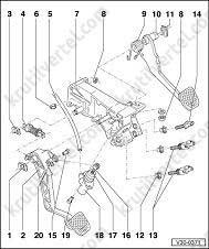 Снятие и установка педали сцепления Audi 100 с 1990