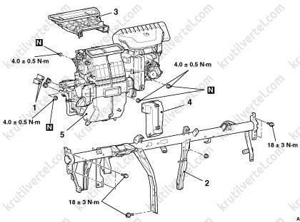 Mitsubishi Colt с 2002 года, снятие отопителя инструкция