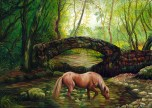 HORSE IN THE FOREST, oil on canvas