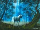Unicorno nella foresta, acrilico