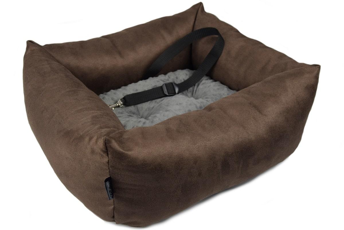 KryKas - antyalergiczny fotelik samochodowy premium dla psa - brązowy z grafitową poduszką