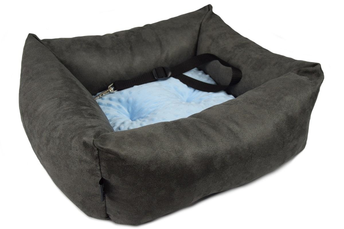 KryKas - antyalergiczny fotelik samochodowy premium dla psa - grafitowy z niebieską poduszką