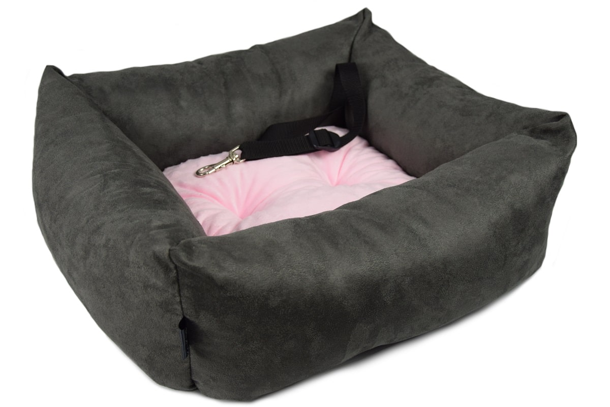 KryKas - antyalergiczny fotelik samochodowy premium dla psa - grafitowy z różową poduszką