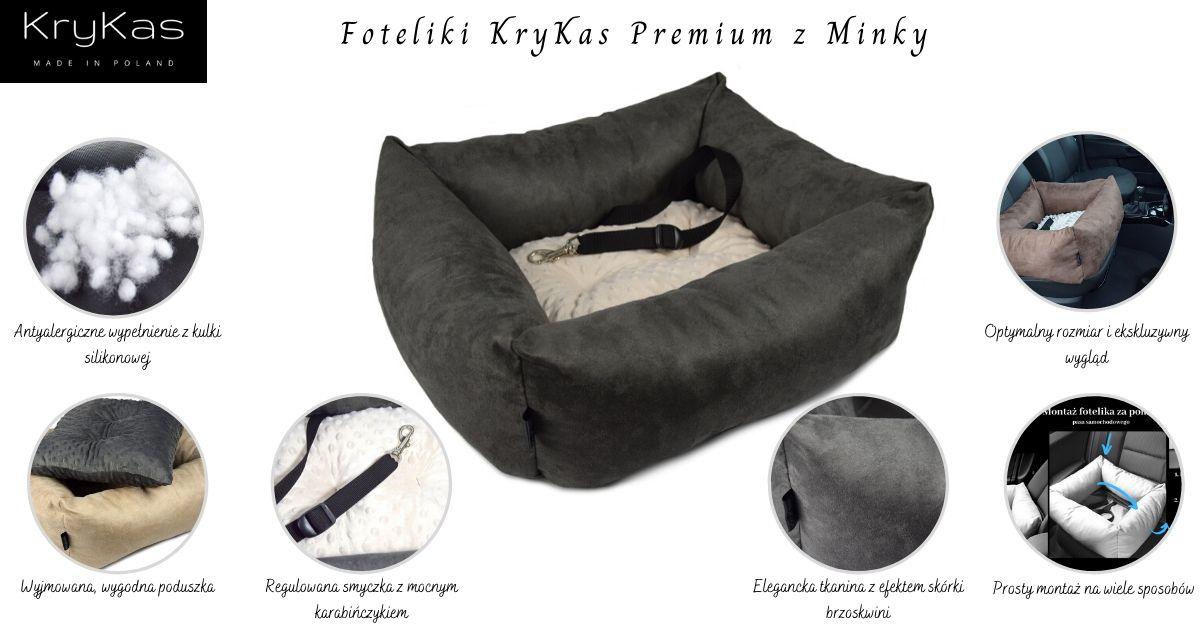 KryKas - antyalergiczne foteliki samochodowe dla psów Premium z Alicante i minky