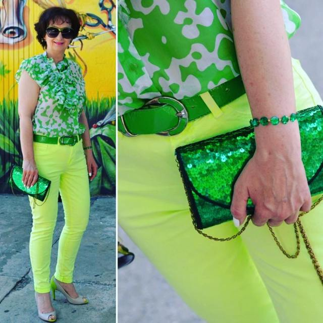 fashionblog chic style green bag sequins happy outfit mylook mystylehellip