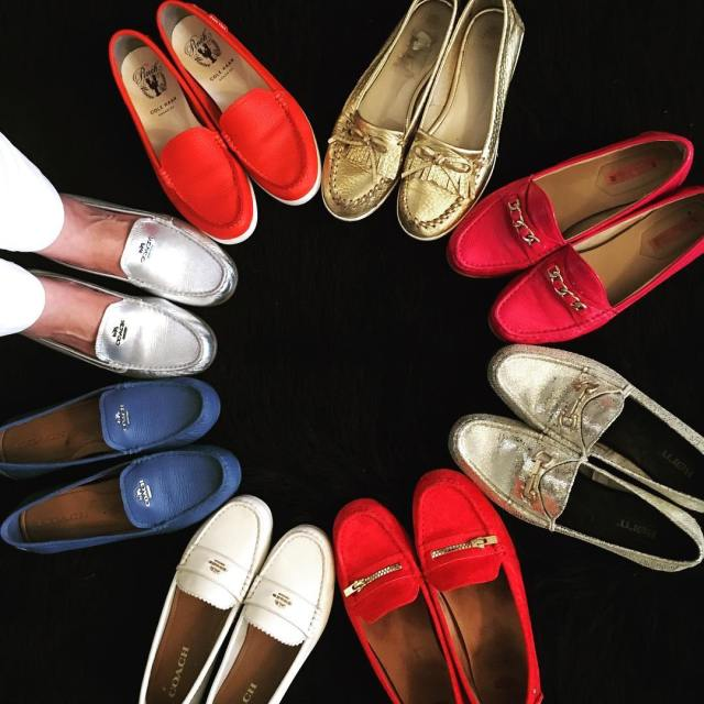 hello today styleover50 fashionblog fashionstyle shoes moccasins colorfull red silverhellip
